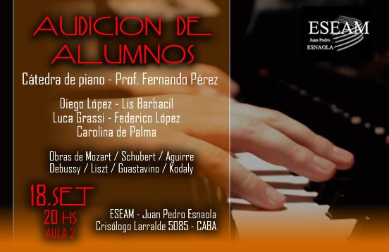Audición – Cátedra de piano – Prof  Fernando Perez – Nivel